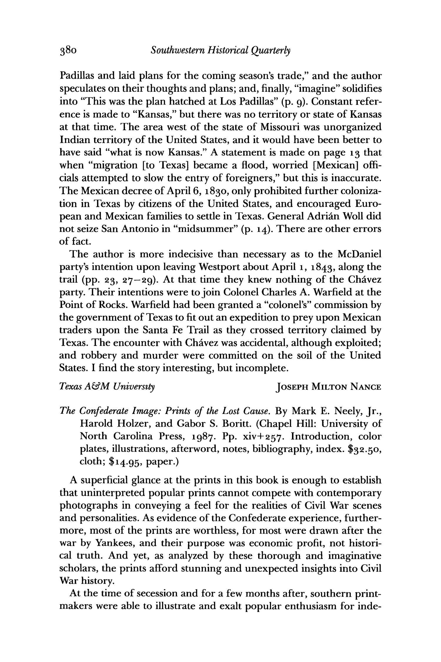 The Southwestern Historical Quarterly, Volume 92, July 1988 - April, 1989                                                                                                      380