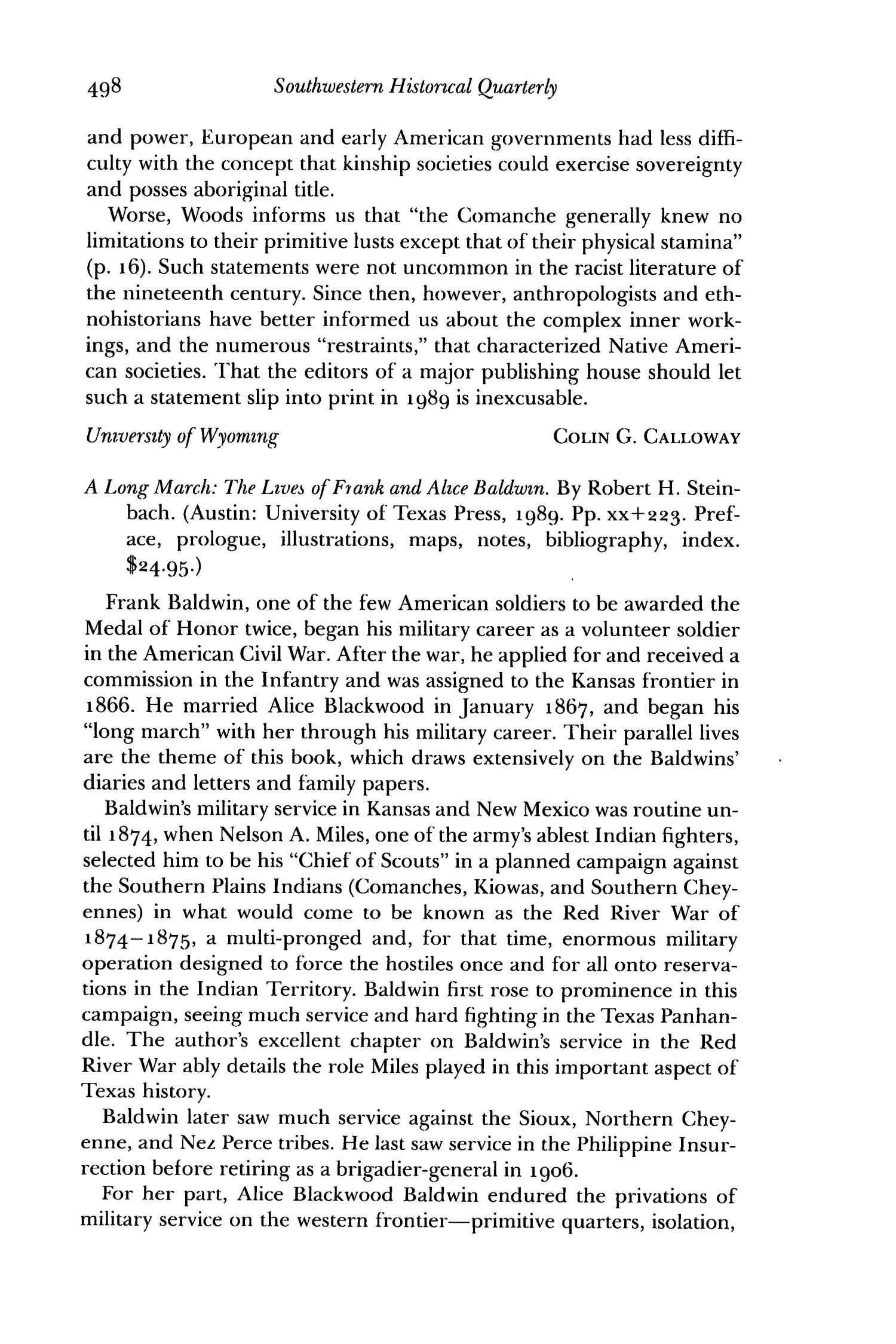 The Southwestern Historical Quarterly, Volume 94, July 1990 - April, 1991                                                                                                      498