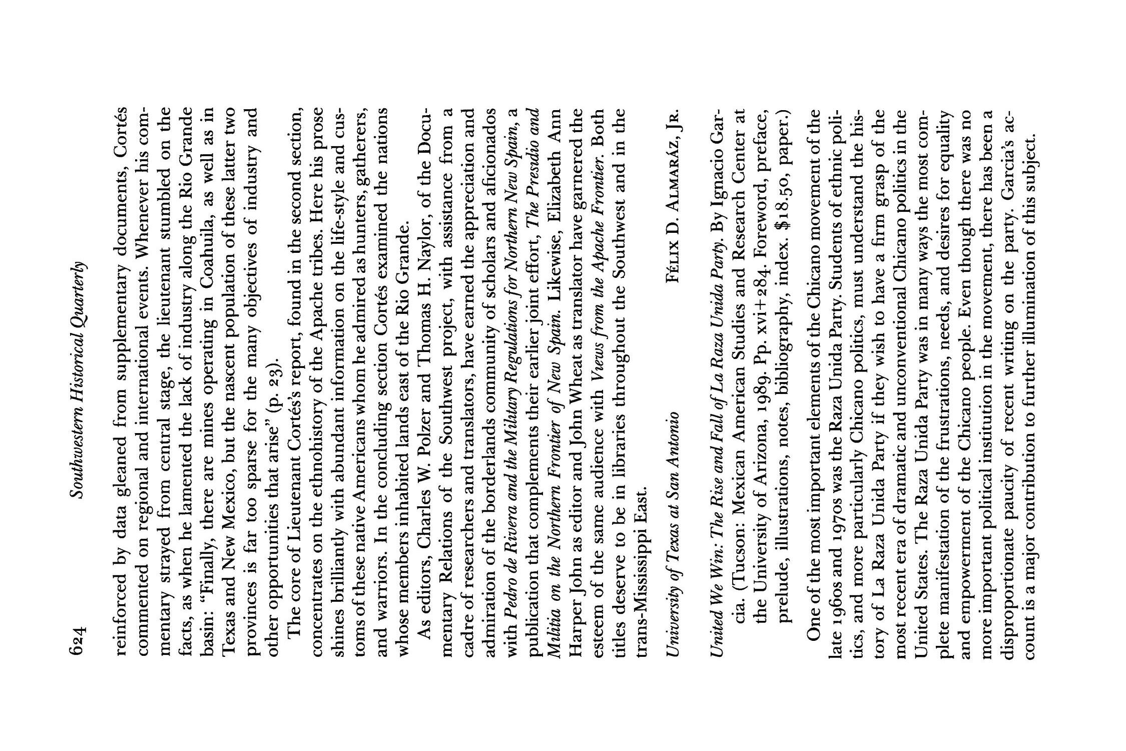 The Southwestern Historical Quarterly, Volume 94, July 1990 - April, 1991                                                                                                      624