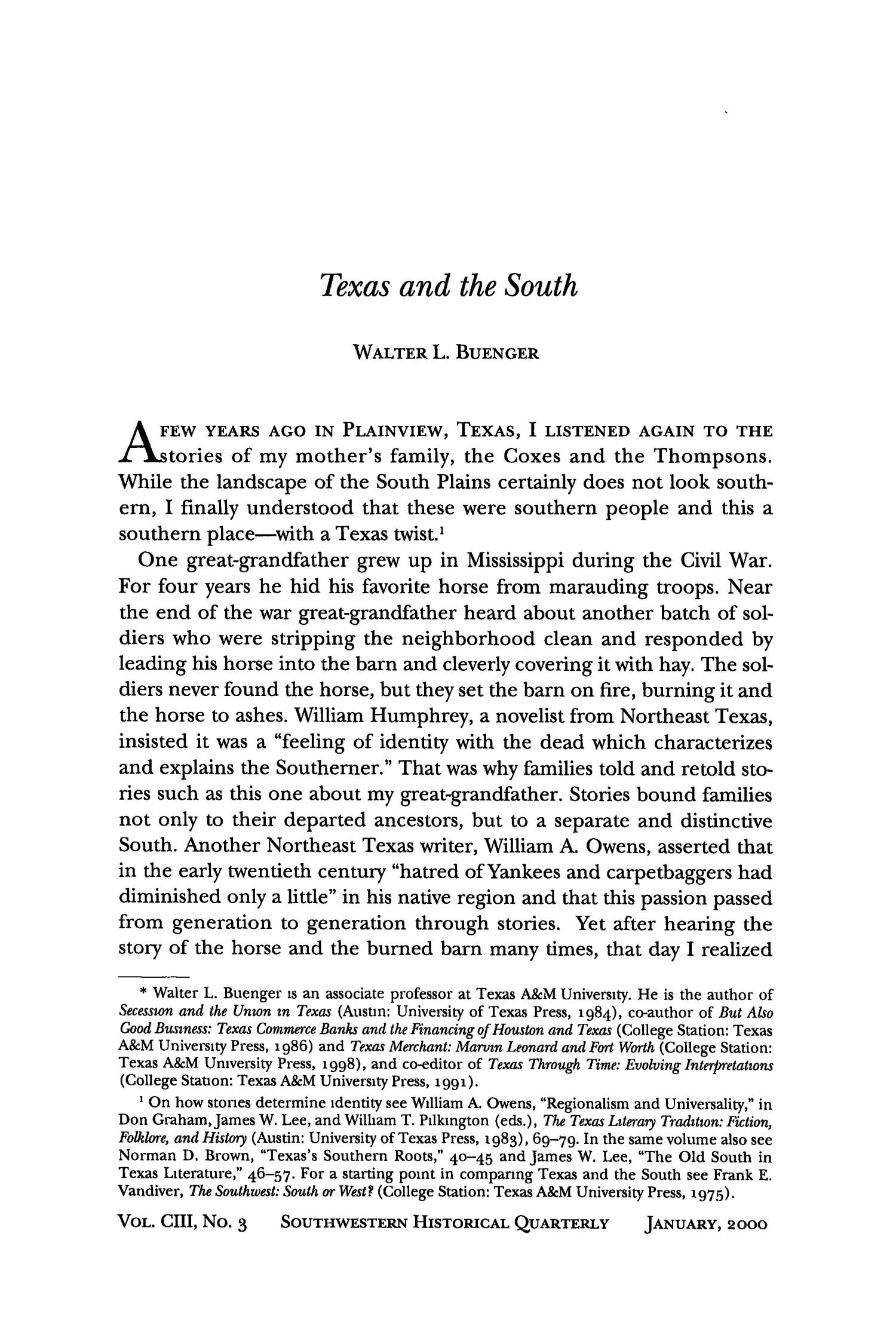 The Southwestern Historical Quarterly, Volume 103, July 1999 - April, 2000                                                                                                      309