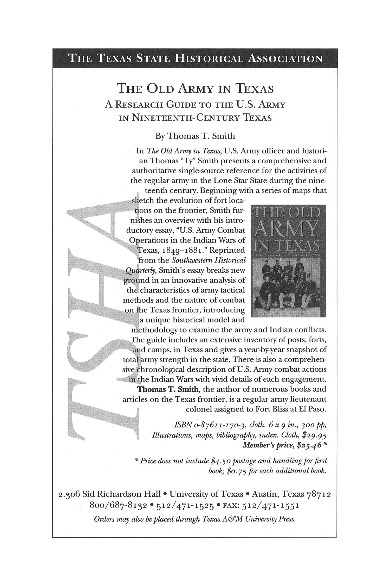 The Southwestern Historical Quarterly, Volume 104, July 2000 - April, 2001                                                                                                      140