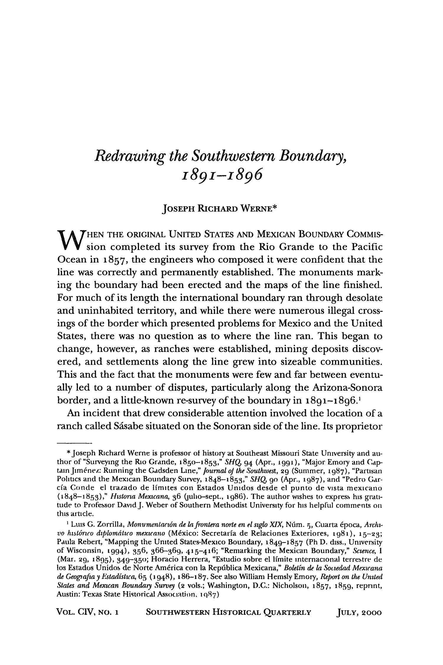 The Southwestern Historical Quarterly, Volume 104, July 2000 - April, 2001                                                                                                      1
