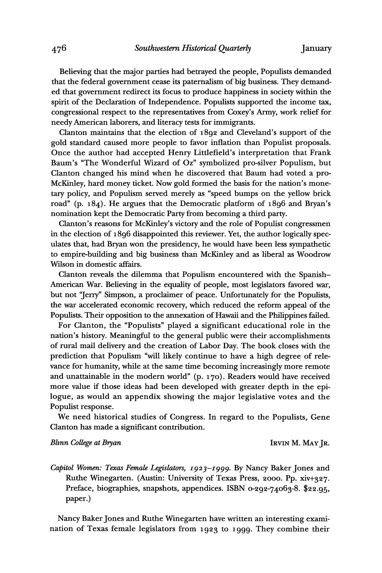 The Southwestern Historical Quarterly, Volume 104, July 2000 - April, 2001                                                                                                      476