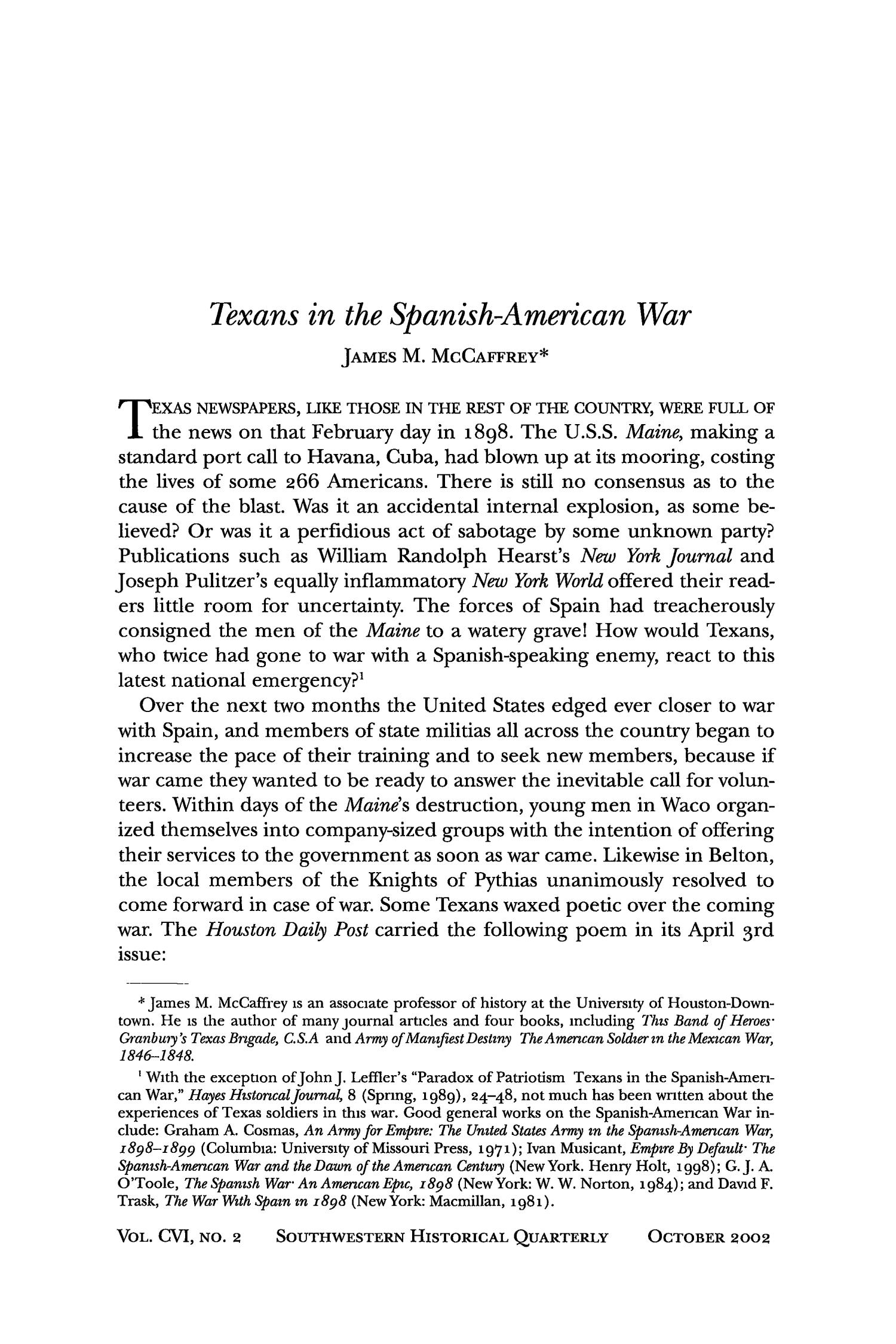 The Southwestern Historical Quarterly, Volume 106, July 2002 - April, 2003                                                                                                      255