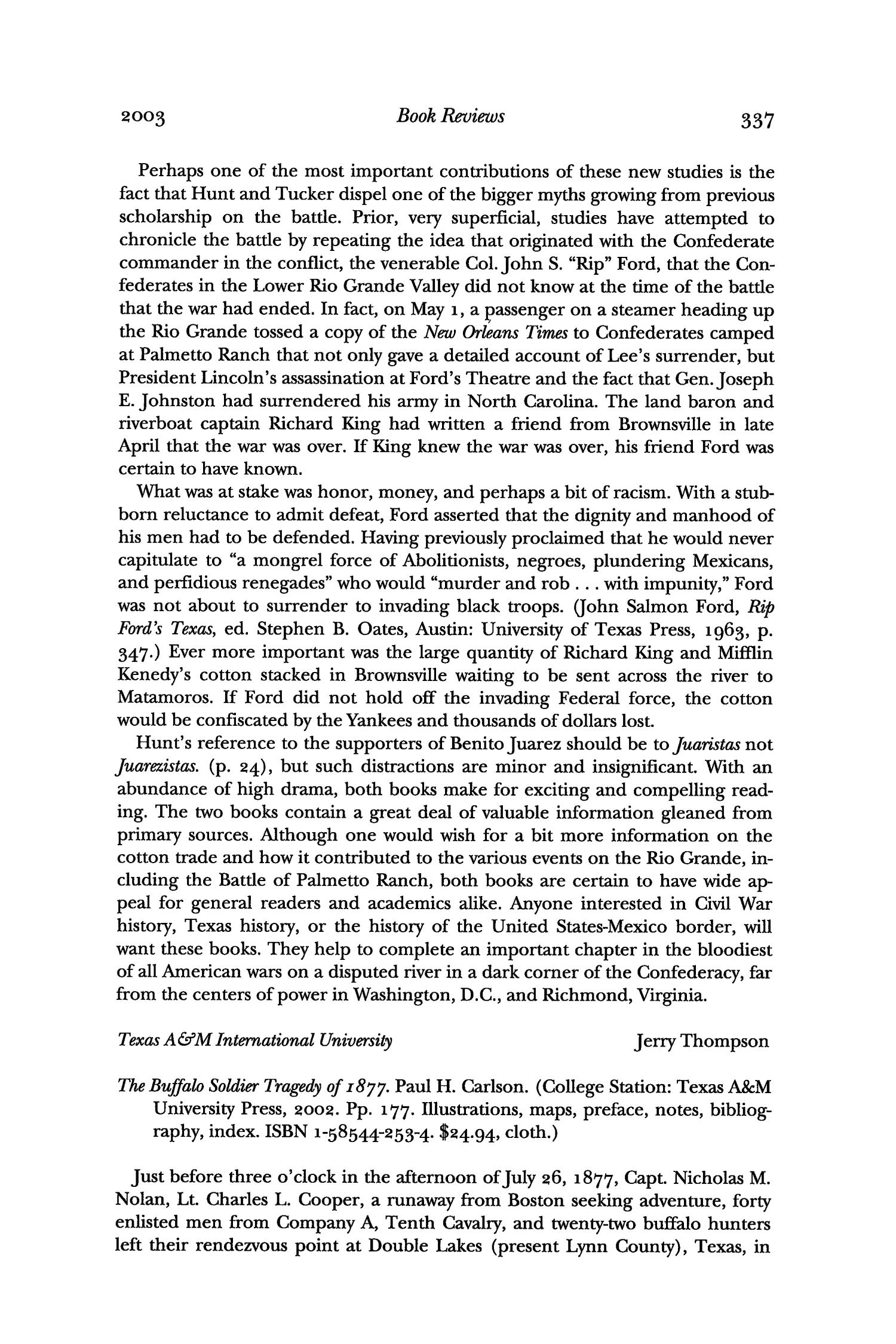 The Southwestern Historical Quarterly, Volume 107, July 2003 - April, 2004                                                                                                      337