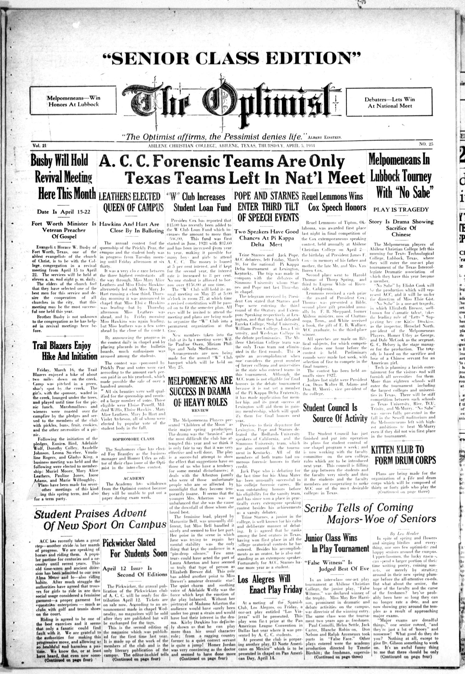 The Optimist (Abilene, Tex.), Vol. 21, No. 25, Ed. 1, Thursday, April 5, 1934                                                                                                      [Sequence #]: 1 of 4