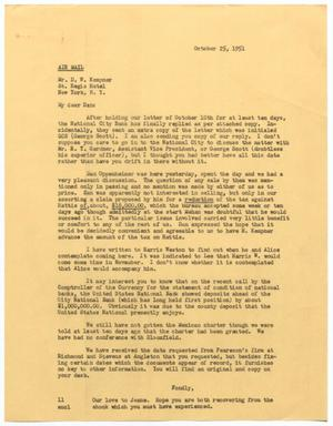 Primary view of object titled '[Letter from I. H. Kempner, Jr., to D. W. Kempner, October 25, 1951]'.