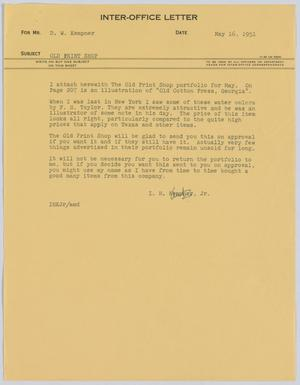 Primary view of object titled '[Letter from I. H. Kempner Jr. to D. W. Kempner, May 16, 1951]'.
