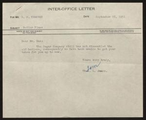 Primary view of object titled '[Letter from T. L. James to D. W. Kempner, September 28, 1951]'.