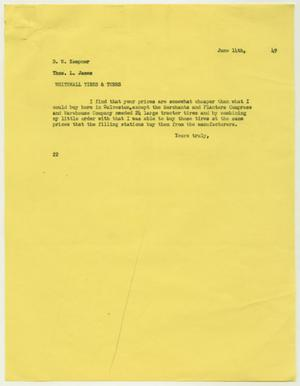 Primary view of object titled 'Letter from D. W. Kempner to Thos. L. James, June 14, 1949'.
