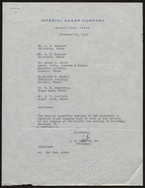 Primary view of object titled '[Letter from I. H. Kempner, Jr., to Directors of Imperial Sugar Company, November 21, 1950]'.