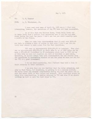 Primary view of object titled '[Letter from A. H. Blackshear, Jr., to D. W. Kempner, May 7, 1951]'.
