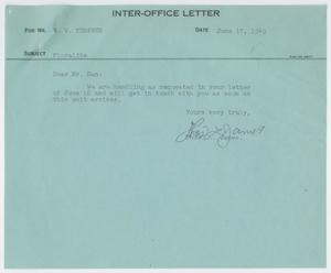 Letter from Thos. L. James to D. W. Kempner, June 17, 1949