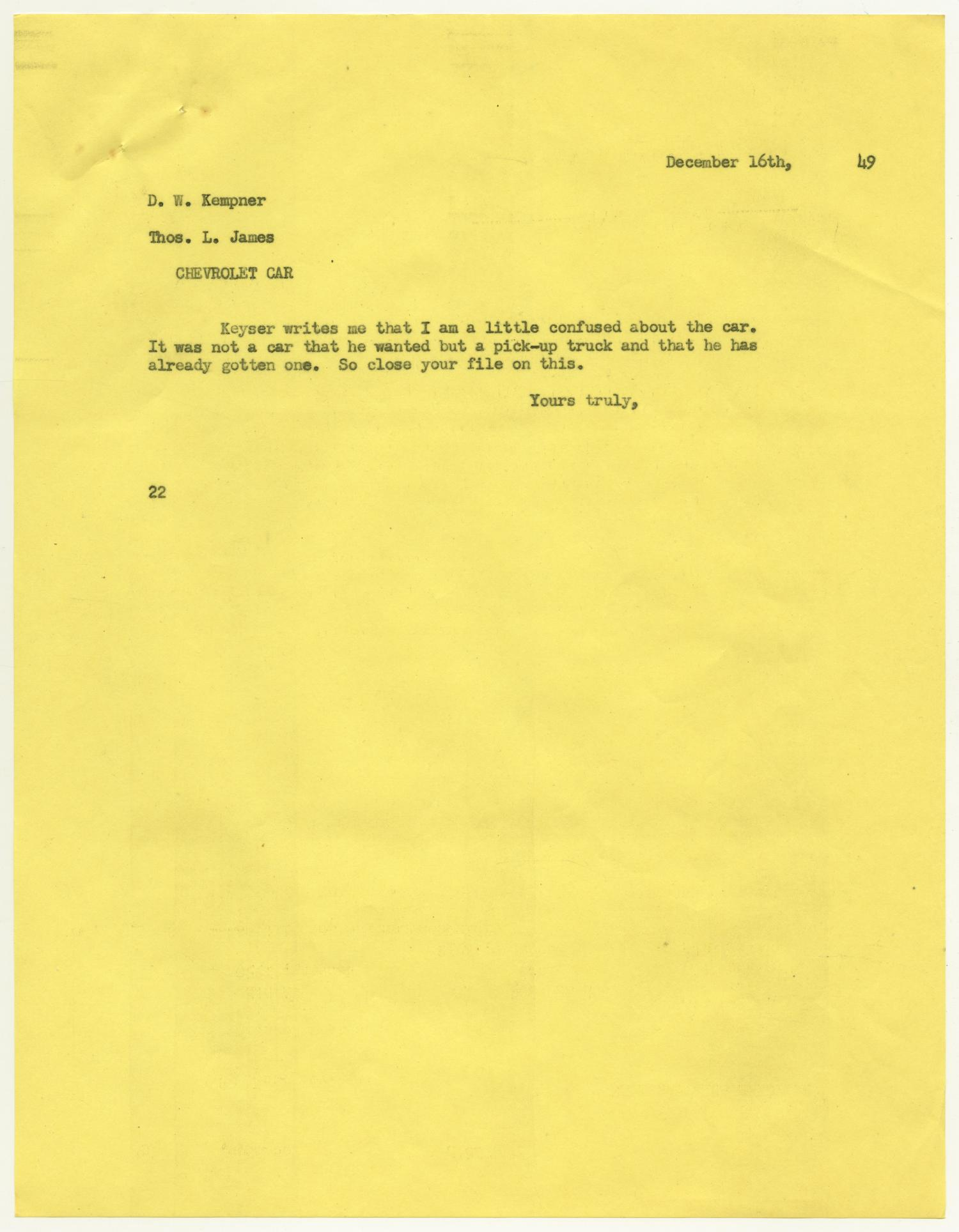 [Letter from D. W. Kempner to Thos. L. James, December 16, 1948]                                                                                                      [Sequence #]: 1 of 2