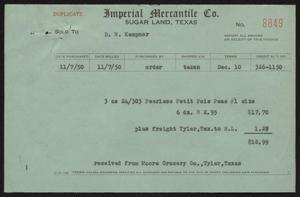 Primary view of object titled '[Invoice for Peas]'.