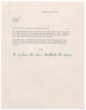 Primary view of object titled '[Letter from H.L . Kempner to I. H., D. W., and R. L. Kempner, September 20, 1951]'.