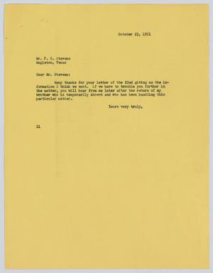 Primary view of object titled '[Letter from I. H. Kempner to F. K. Stevens, October 23, 1951]'.