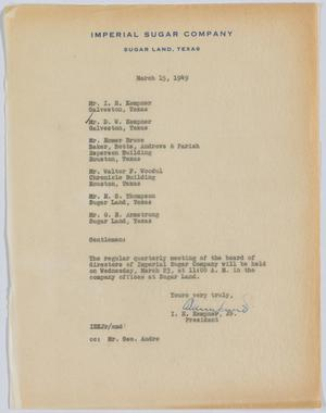 Primary view of object titled 'Letter from I. H. Kempner, Jr., to Directors of Imperial Sugar Company, March 15, 1949'.