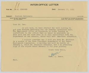 Primary view of object titled '[Letter from T. L. James to D. W. Kempner, January 17, 1951]'.