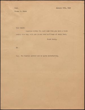 Primary view of [Letter from D. W. Kempner to Thomas L. James, January 17, 1949]