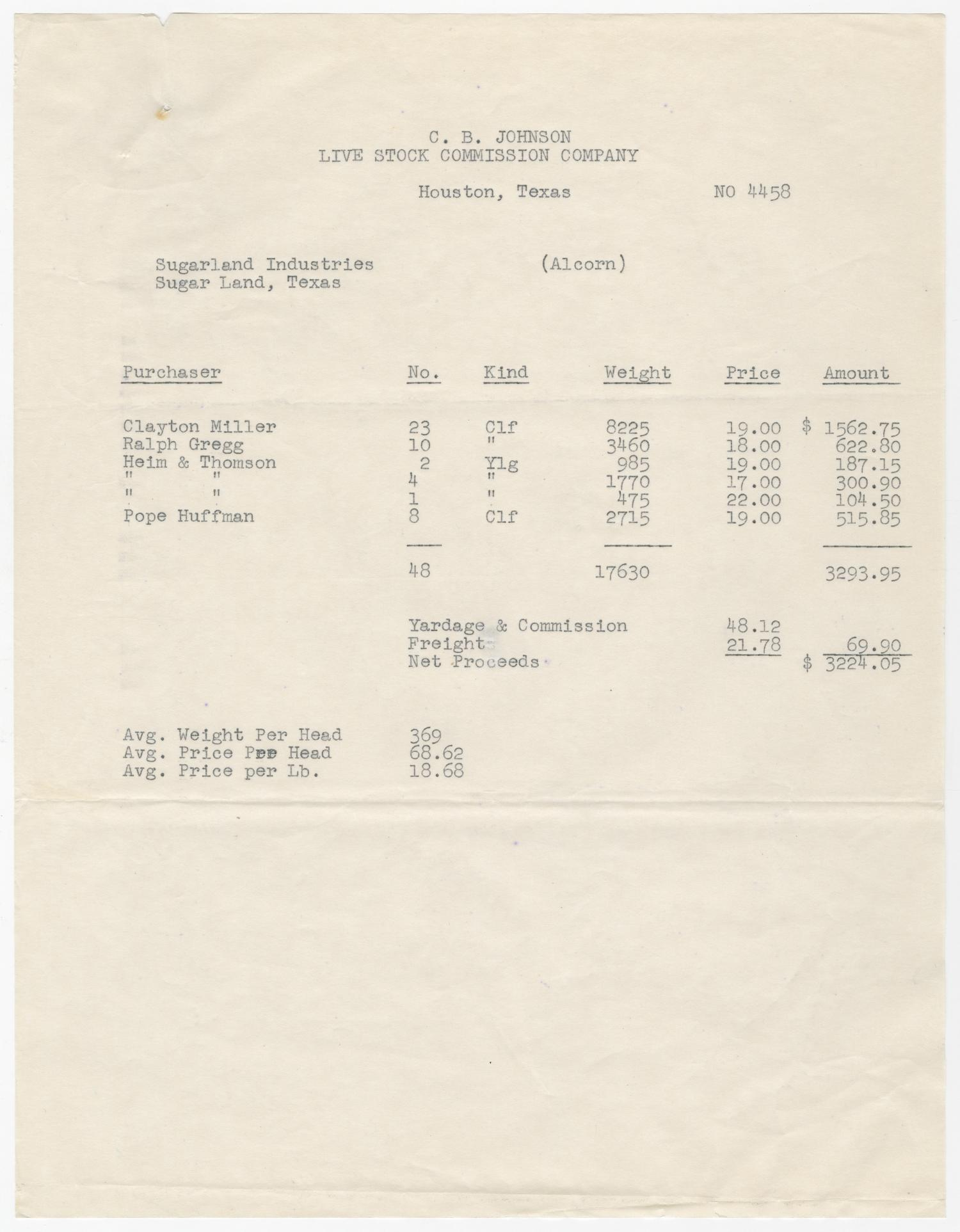 Invoice for Alcorn Cattle Account                                                                                                      [Sequence #]: 1 of 2