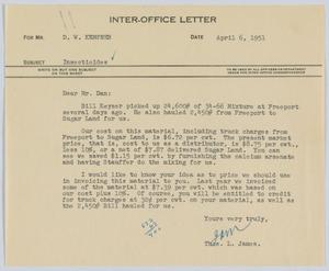 Primary view of object titled '[Letter from Thos. L. James to D. W. Kempner, April 6, 1951]'.