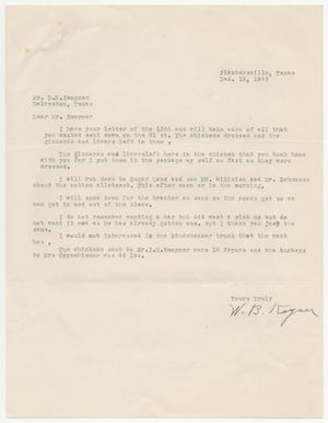 Primary view of object titled '[Letter from W. B. Keyser to D. W. Kempner, December 15, 1949]'.