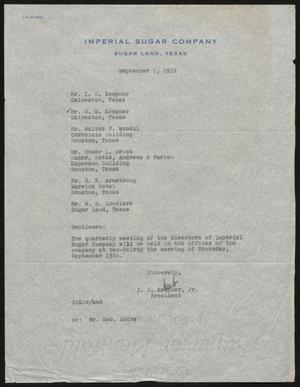 Primary view of object titled '[Letter from I. H. Kempner, Jr., to Directors of Imperial Sugar Company, September 7, 1951]'.