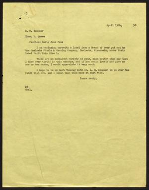 Primary view of object titled '[Letter from D. W. Kempner to Thos. L. James, April 13, 1950]'.