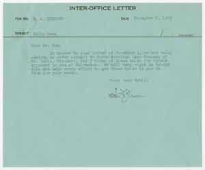 Primary view of object titled '[Letter from Thos. L. James to D. W. Kempner, December 6, 1949]'.
