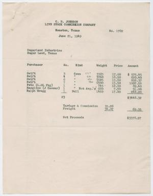 Invoice for Cattle