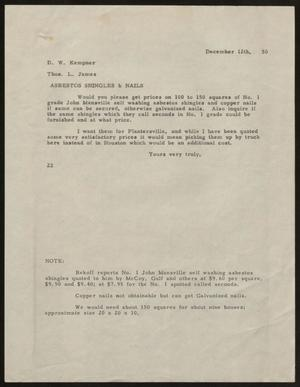 Primary view of object titled 'Letter from D. W. Kempner to Thos. L. James, December 12, 1950'.