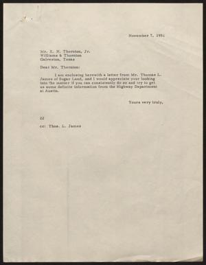 Primary view of object titled '[Letter from D. W. Kempner to E. H. Thornton, Jr., November 7, 1951]'.