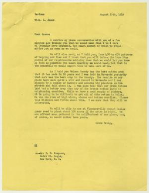 Letter from D. W. Kempner to Thos. L. James, August 29, 1949