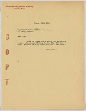 Primary view of object titled '[Letter from D. W. Kempner to Dazor Manufacturing Corporation, February 15, 1949]'.