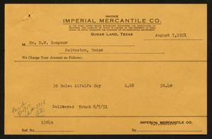 Primary view of object titled '[Invoice for Thirty Bales of Alfalfa Hay Sold to D. W. Kempner]'.