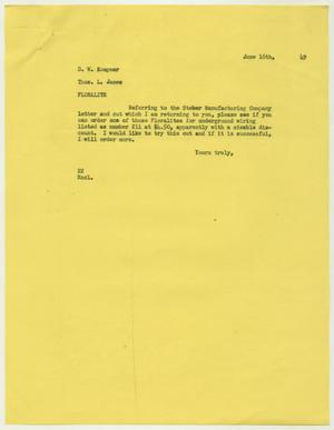 Letter from D. W. Kempner to Thos. L. James, June 16, 1949