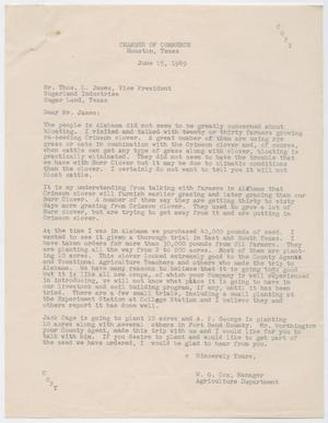 Primary view of object titled 'Letter from W. O. Cox to Thos. L. James, June 15, 1949'.