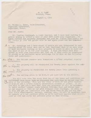 Primary view of object titled '[Letter from M. A. Rowe to Thomas L. James, August 5, 1949]'.