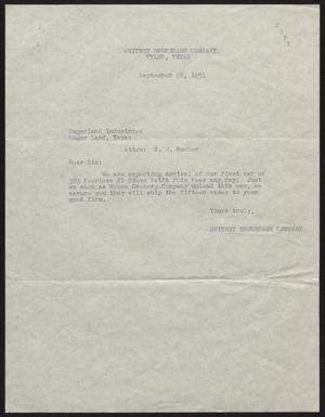 Primary view of object titled '[Letter from Whitney Brokerage Company to H. W. Rucker, September 28, 1951]'.