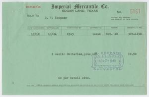 Primary view of object titled '[Invoice for Zenith Batteries]'.