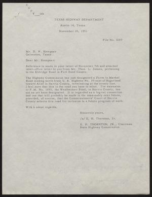 Primary view of object titled '[Letter from E. H. Thornton, Jr. to D. W. Kempner, November 20, 1951]'.