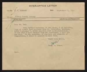 Primary view of object titled '[Letter from Thos. L. James to D. W. Kempner, September 11, 1951]'.