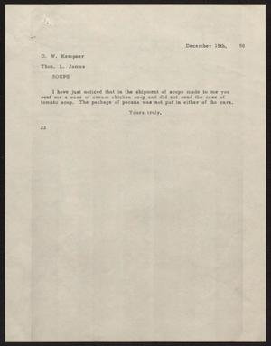 Primary view of object titled '[Letter from D. W. Kempner to Thos. L. James, December 15, 1950]'.