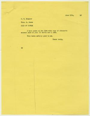 Letter from D. W. Kempner to Thos. L. James, June 15, 1949