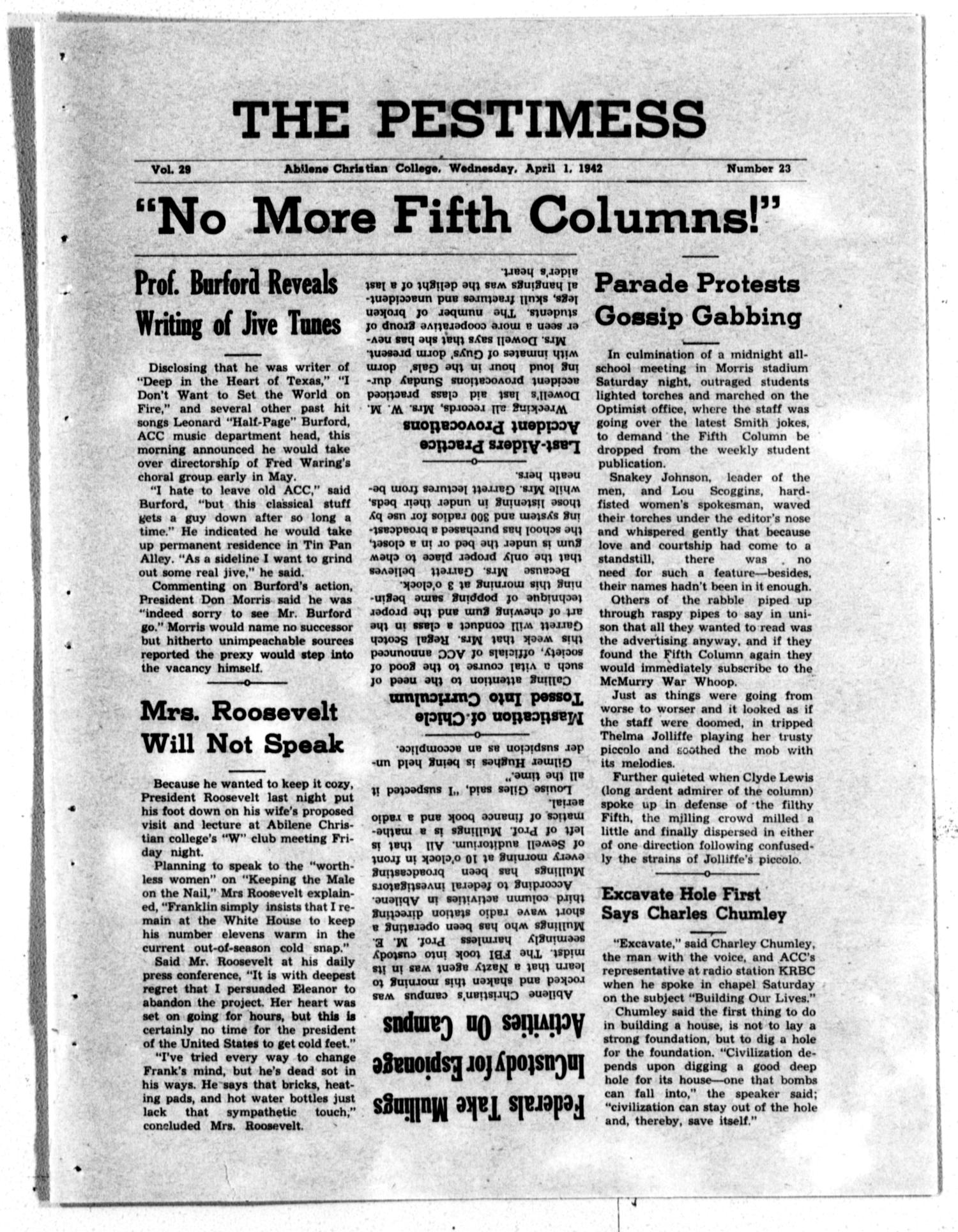 The Optimist (Abilene, Tex.), Vol. 29, No. 23, Ed. 1, Wednesday, April 1, 1942                                                                                                      [Sequence #]: 1 of 4