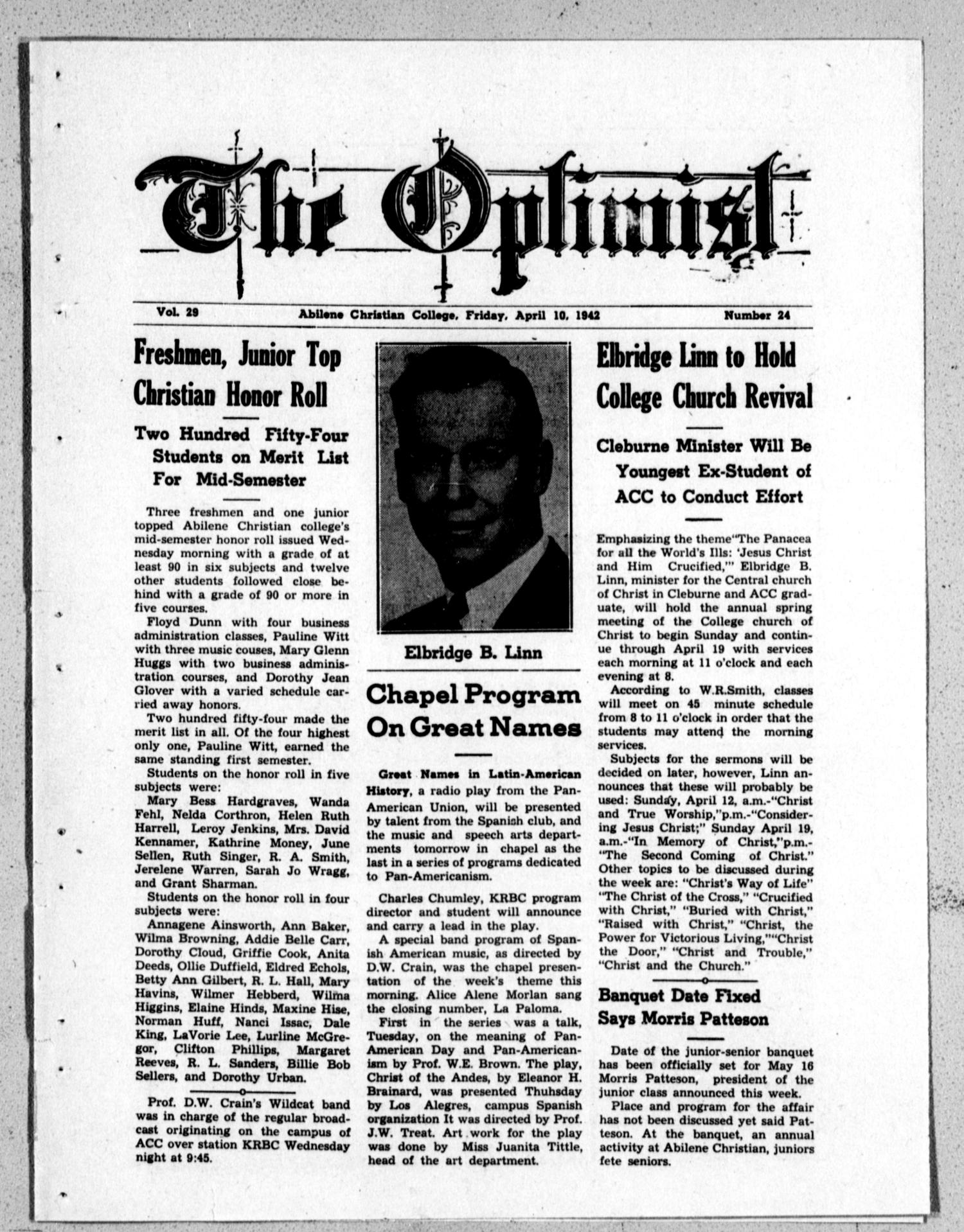The Optimist (Abilene, Tex.), Vol. 29, No. 24, Ed. 1, Friday, April 10, 1942                                                                                                      [Sequence #]: 1 of 4