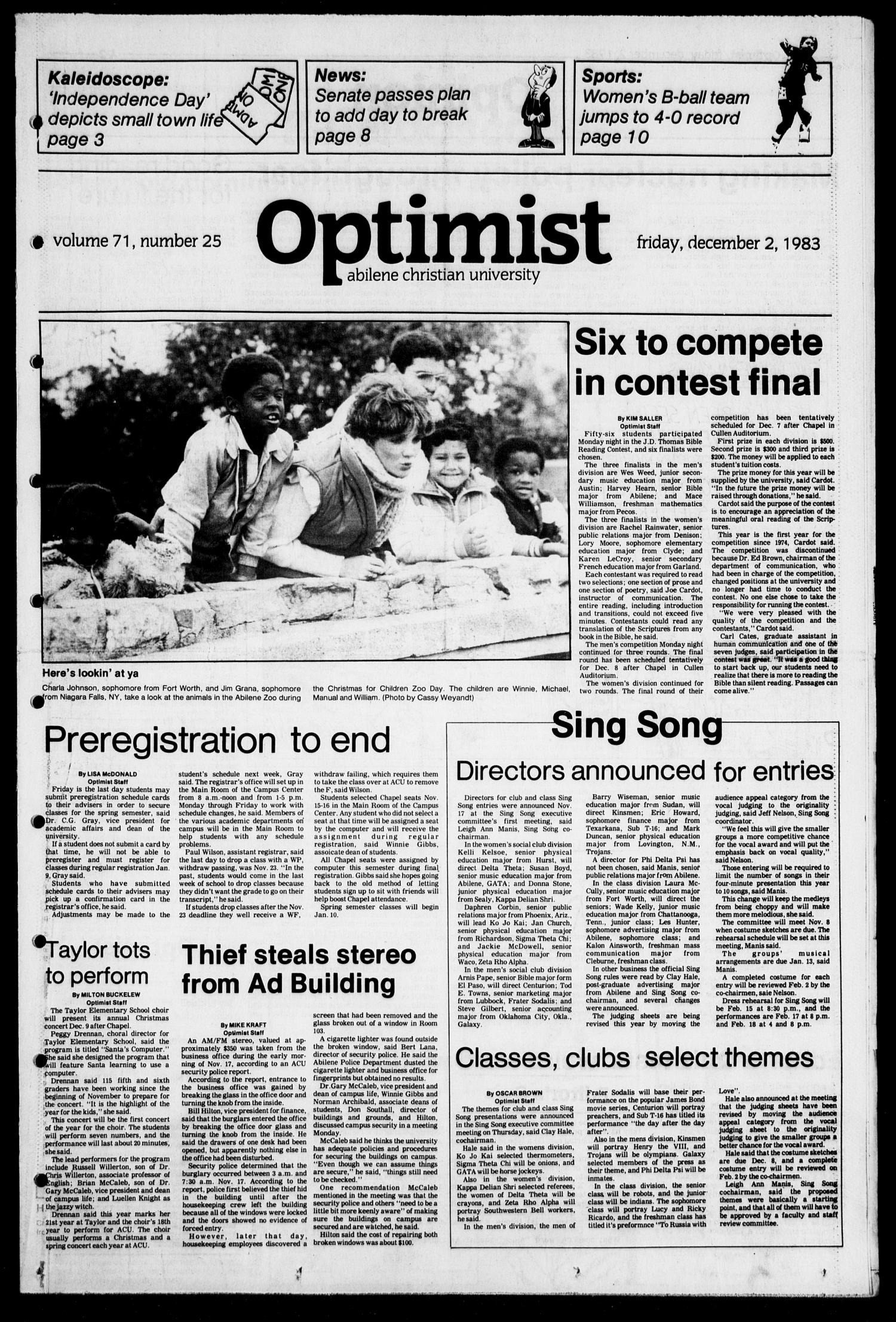 The Optimist (Abilene, Tex.), Vol. 71, No. 25, Ed. 1, Friday, December 2, 1983                                                                                                      [Sequence #]: 1 of 14