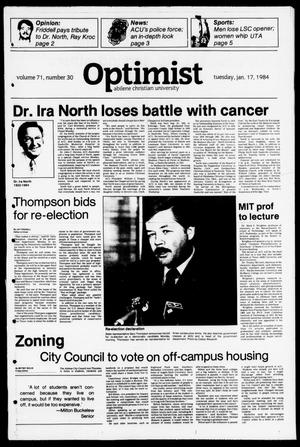 The Optimist (Abilene, Tex.), Vol. 71, No. 30, Ed. 1, Tuesday, January 17, 1984