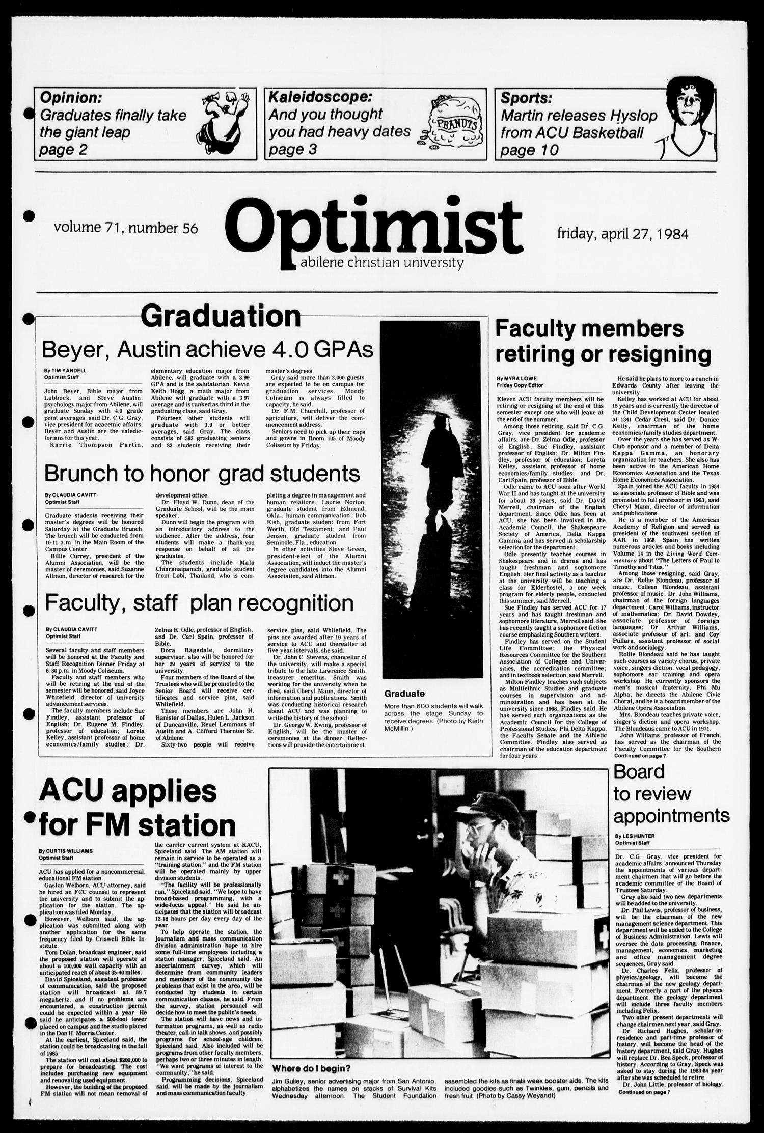 The Optimist (Abilene, Tex.), Vol. 71, No. 56, Ed. 1, Friday, April 27, 1984                                                                                                      [Sequence #]: 1 of 12